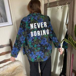 Vintage floral oversized custom blue jacket